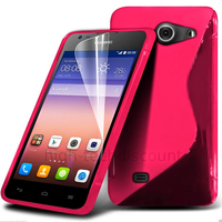 Housse etui coque pochette silicone gel fine pour Huawei Ascend Y550 + film ecran - ROSE