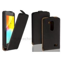 Housse etui coque pochette simili cuir fine pour LG L Fino + film ecran - NOIR