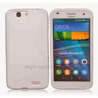 Housse etui coque pochette silicone gel fine pour Huawei Ascend G7 + film ecran - BLANC