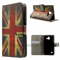 Housse etui coque portefeuille simili cuir pour Huawei Ascend Y550 + film ecran - UK