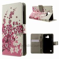 Housse etui coque portefeuille simili cuir pour Huawei Ascend Y550 + film ecran - CERISIER