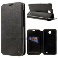 Housse etui coque portefeuille simili cuir pour Huawei Ascend Y330 + film ecran - NOIR
