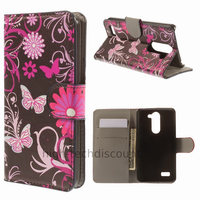 Housse etui coque portefeuille simili cuir pour LG L Bello + film ecran - FLEURS N