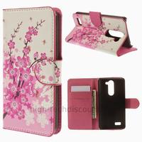 Housse etui coque portefeuille simili cuir pour LG L Bello + film ecran - CERISIER