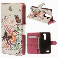 Housse etui coque portefeuille simili cuir pour LG L Bello + film ecran - PAPILLONS