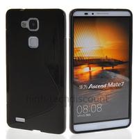 Housse etui coque pochette silicone gel fine pour Huawei Ascend Mate 7 + film ecran - NOIR