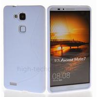Housse etui coque pochette silicone gel fine pour Huawei Ascend Mate 7 + film ecran - BLANC