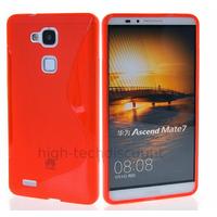 Housse etui coque pochette silicone gel fine pour Huawei Ascend Mate 7 + film ecran - ROUGE