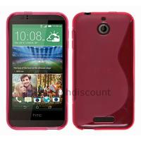 Housse etui coque pochette silicone gel fine pour HTC Desire 510 + film ecran - ROSE