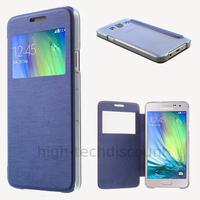 Housse etui coque pochette portefeuille view case pour Samsung Galaxy A3 + film ecran - BLEU