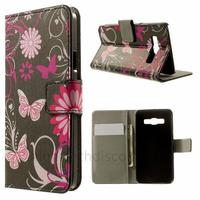 Housse etui coque pochette portefeuille PU cuir pour Samsung Galaxy A3 + film ecran - FLEURS N