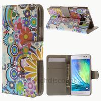 Housse etui coque pochette portefeuille PU cuir pour Samsung Galaxy A3 + film ecran - FLEURS C
