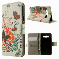 Housse etui coque pochette portefeuille PU cuir pour Samsung Galaxy A3 + film ecran - PAPILLONS
