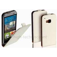 Housse etui coque pochette PU cuir fine pour HTC One M9 + film ecran - BLANC