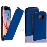 Housse etui coque pochette PU cuir fine pour Samsung G920F Galaxy S6 + film ecran - BLEU
