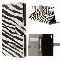 Housse etui coque pochette portefeuille PU cuir pour Sony Xperia M4 Aqua + film ecran - ZEBRE