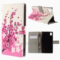 Housse etui coque pochette portefeuille PU cuir pour Sony Xperia M4 Aqua + film ecran - CERISIER