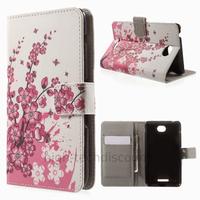 Housse etui coque pochette portefeuille PU cuir pour Sony Xperia E4 + film ecran - CERISIER