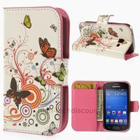 Housse etui coque portefeuille PU cuir pour Samsung s7390 Galaxy Trend Lite + film ecran - PAPILLONS