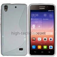 Housse etui coque pochette silicone gel fine pour Huawei Ascend G620S + film ecran - BLANC