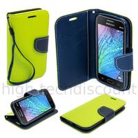 Housse etui coque pochette portefeuille pour Samsung Galaxy J1 + film ecran - VERT / BLEU