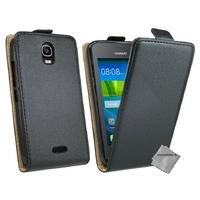 Housse etui coque pochette PU cuir fine pour Huawei Ascend Y3 - Y360 + film ecran - NOIR