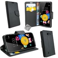 Housse etui coque pochette portefeuille pour LG K4 + film ecran - NOIR / NOIR