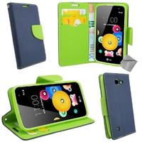 Housse etui coque pochette portefeuille pour LG K4 + film ecran - BLEU / VERT
