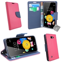 Housse etui coque pochette portefeuille pour LG K4 + film ecran - ROSE / BLEU
