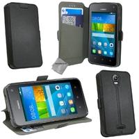 Housse etui coque pochette portefeuille pour Huawei Ascend Y3 - Y360 + film ecran - NOIR / NOIR