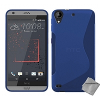 Housse etui coque pochette silicone gel fine pour HTC Desire 530 + film ecran - BLEU