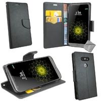 Housse etui coque pochette portefeuille pour LG G5 + verre trempe - NOIR / NOIR