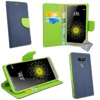Housse etui coque pochette portefeuille pour LG G5 + verre trempe - BLEU / VERT