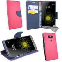 Housse etui coque pochette portefeuille pour LG G5 + verre trempe - ROSE / BLEU