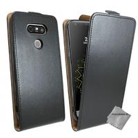 Housse etui coque pochette PU cuir fine pour LG G5 + verre trempe - NOIR