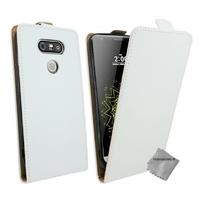 Housse etui coque pochette PU cuir fine pour LG G5 + verre trempe - BLANC