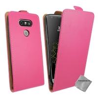 Housse etui coque pochette PU cuir fine pour LG G5 + verre trempe - ROSE