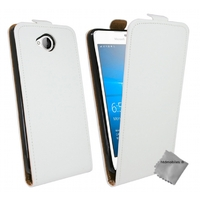 Housse etui coque pochette PU cuir fine pour Microsoft Lumia 650 + film ecran - BLANC