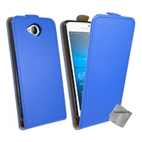 Housse etui coque pochette PU cuir fine pour Microsoft Lumia 650 + verre trempe - BLEU