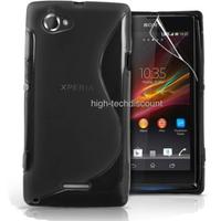 Housse etui coque pochette silicone gel pour Sony Xperia L + film ecran - NOIR