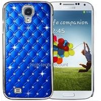 Housse etui coque chrome rigide pour Samsung i9500 i9505 Galaxy s4 IV + film ecran - BLEU FONCE