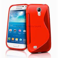 Housse etui coque silicone gel pour Samsung i9190 Galaxy S4 Mini + film ecran - ROUGE
