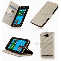 Housse etui coque portefeuille pour Samsung i8750 Ativ S + film ecran - BLANC
