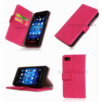Housse etui coque portefeuille pour Blackberry Z10 + film ecran - ROSE