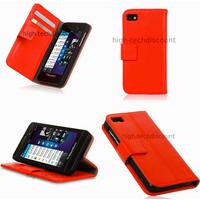 Housse etui coque portefeuille pour Blackberry Z10 + film ecran - ROUGE