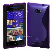 Housse etui coque silicone gel MAUVE pour Windows Phone 8S by HTC + film ecran