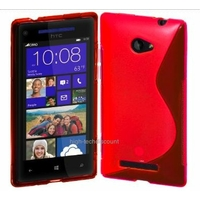 Housse etui coque silicone gel ROSE pour Windows Phone 8S by HTC + film ecran