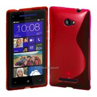 Housse etui coque silicone gel ROUGE pour Windows Phone 8S by HTC + film ecran