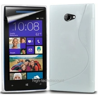 Housse etui coque silicone gel BLANC pour Windows Phone 8X by HTC + film ecran