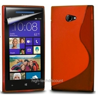 Housse etui coque silicone gel ROUGE pour Windows Phone 8X by HTC + film ecran